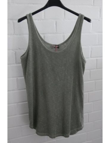 ESViViD Damen Top Shirt khaki oliv uni mit Baumwolle Onesize 38 - 42 3502