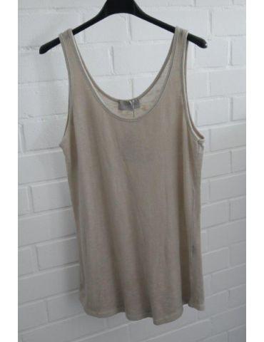 ESViViD Damen Top Shirt beige sand uni mit Baumwolle Onesize 38 - 42 3502