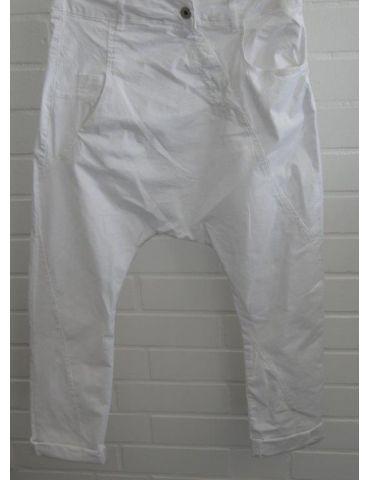 Bequeme Sportliche Damen Baggy weiß white uni verwaschen