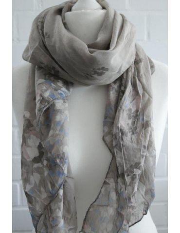 Schal Tuch Loop taupe weiß rose Blumen Made in Italy Seide Baumwolle