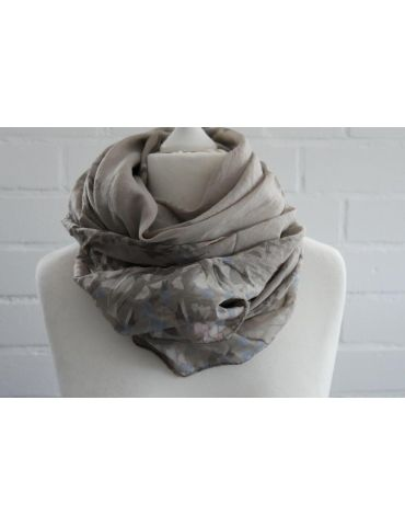 Schal Tuch Loop taupe weiß rose Blumen Made in...