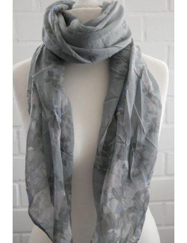 Schal Tuch Loop grau weiß rose Blumen Made in Italy Seide Baumwolle