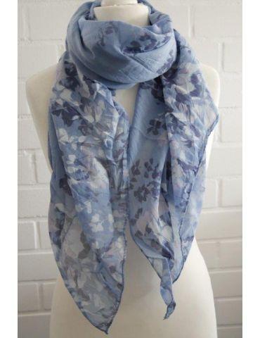 Schal Tuch Loop jeansblau weiß rose Blumen Made...