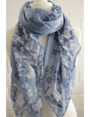 Schal Tuch Loop jeansblau weiß rose Blumen Made in Italy Seide Baumwolle