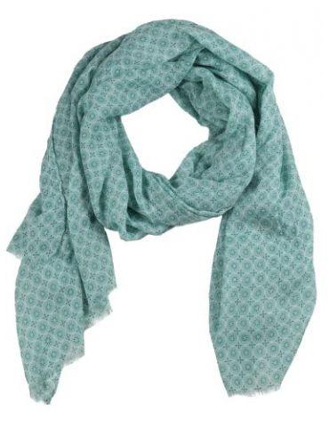 Leichter XL Damen Schal Tuch lindgrün weiß Phantasiemuster