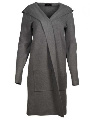 Zwillingsherz Damen Strick Mantel Jacke Kapuze grau grey mit Viskose
