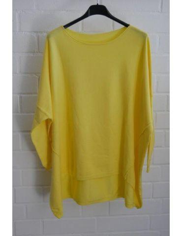 ESViViD Damen Pullover gelb zitronengelb Rundhals Onesize 38 - 46 mit Viskose 2232