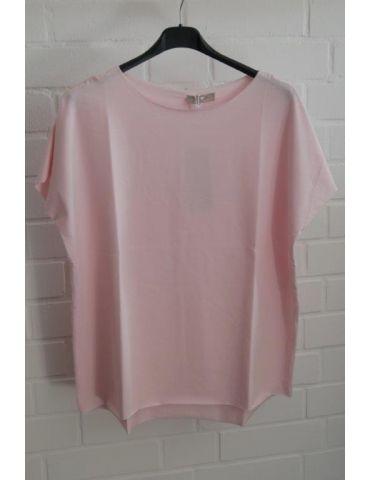 Damen Shirt kurzarm rose rosa mit Baumwolle Onesize 38 - 44