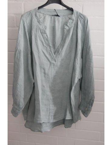 Xuna Oversize Damen Bluse Shirt 100% Leinen hellpetrol Ballonärmel Onesize 38 - 48