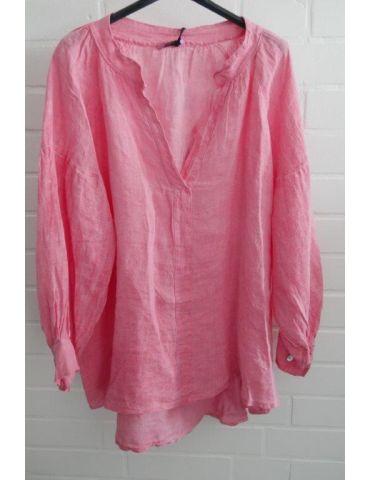 Xuna Oversize Damen Bluse Shirt 100% Leinen pink Ballonärmel Onesize 38 - 48
