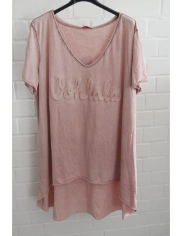 "3D Damen Shirt kurzarm rose rosa verwaschen uni ""Oohlala""  Baumwolle Onesize 38 - 44"