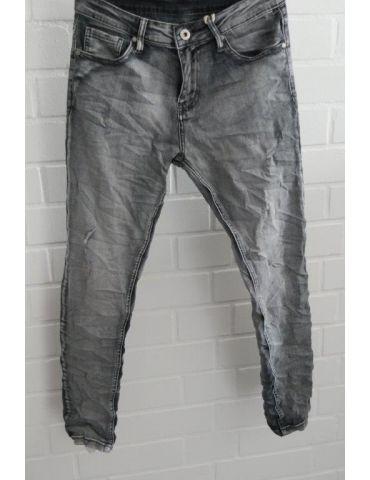 ORMI Trendige Bequeme Jeans Hose Damenhose grau verwaschen Abrieb