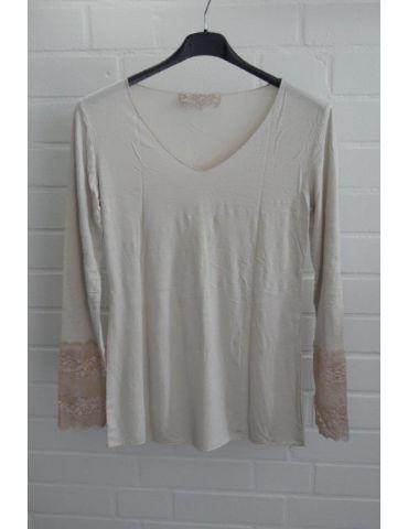 Damen Shirt Langarm mit Spitze beige sand mit Viskose Onesize 38 40