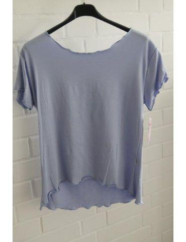 Damen Shirt kurzarm jeansblau mit Viskose Wellen Onesize 36 - 40