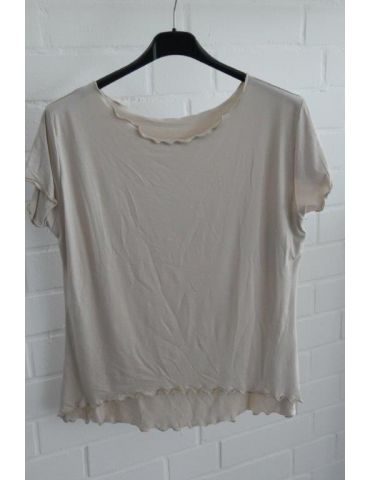 Damen Shirt kurzarm beige mit Viskose Wellen Onesize 36 - 40
