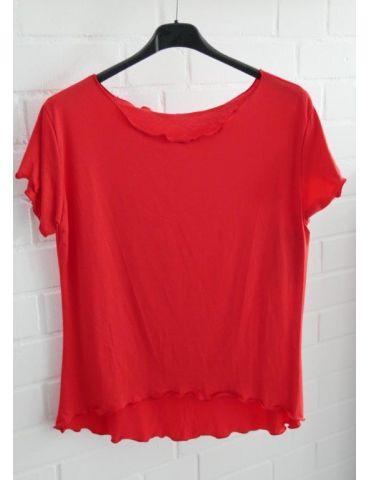 Damen Shirt kurzarm rot red mit Viskose Wellen Onesize 36 - 40