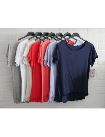 Damen Shirt kurzarm orange mit Viskose Wellen...