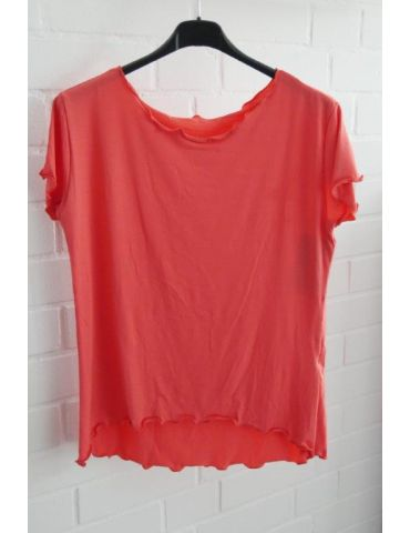 Damen Shirt kurzarm oange mit Viskose Wellen Onesize 36 - 40