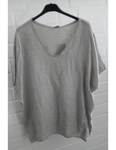 Damen Shirt kurzarm hellgrau grau uni mit Leinen Baumwolle Onesize 38 - 44