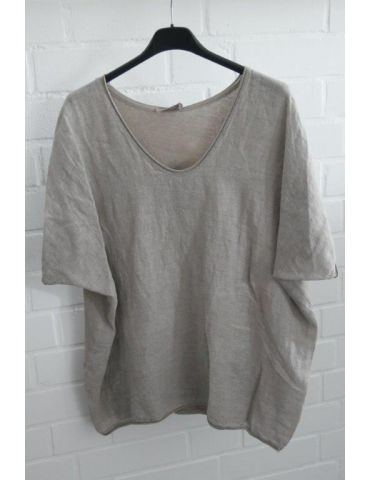 Damen Shirt kurzarm beige sand uni mit Leinen Baumwolle Onesize 38 - 44
