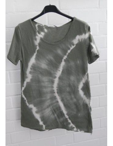 Damen Batik Shirt kurzarm oliv khaki weiß Baumwolle Onesize 36 38