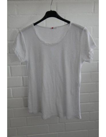 Damen Shirt kurzarm weiß white verwaschen Fransen Kanten Baumwolle Onesize 36 - 40
