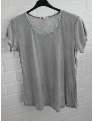 Damen Shirt kurzarm hellgrau grau verwaschen Fransen Kanten Baumwolle Onesize 36 - 40