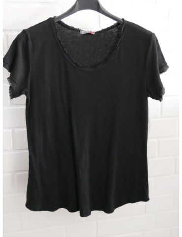 Damen Shirt kurzarm schwarz black verwaschen Fransen Kanten Baumwolle Onesize 36 - 40