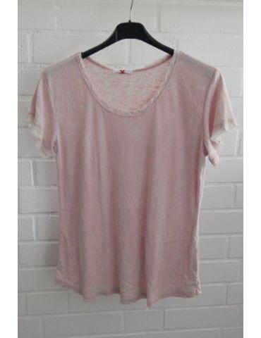 Damen Shirt kurzarm rose rosa verwaschen Fransen Kanten Baumwolle Onesize 36 - 40