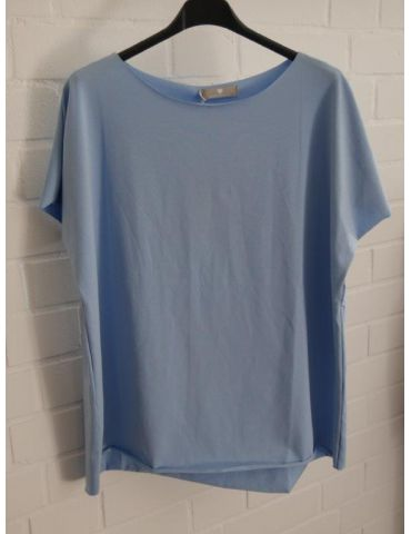 Damen Shirt kurzarm himmelblau mit Baumwolle Onesize 38 - 44