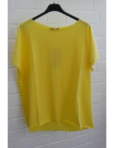 Damen Shirt kurzarm gelb mit Baumwolle Onesize 38 - 44