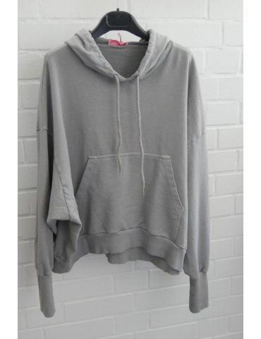ESViViD XXL Big Size Hoodie Sweat Shirt langarm grau verwaschen mit Baumwolle