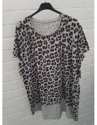 Damen kurzarm Shirt A-Form hellgrau schwarz beige Leo Baumwolle Onesize ca. 38 - 44