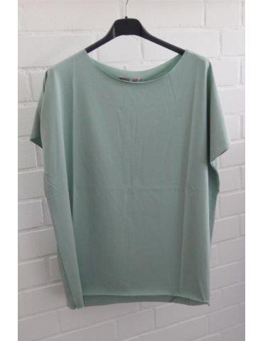 Damen Shirt kurzarm mint grün mit Baumwolle Onesize 38 - 44