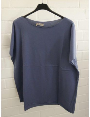 Damen Shirt kurzarm rauchblau mit Baumwolle Onesize 38 - 44