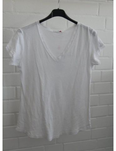Damen Shirt kurzarm weiß white V-Ausschnitt Fransen Kanten Baumwolle Onesize 36 - 40