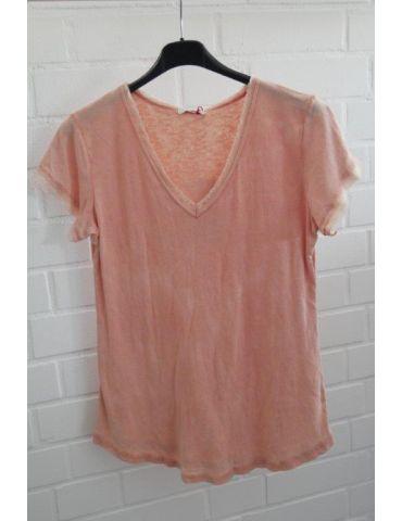 Damen Shirt kurzarm lachs apricot verwaschen V-Ausschnitt Fransen Kanten Baumwolle Onesize 36 - 40