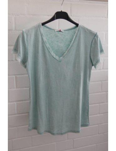 Damen Shirt kurzarm mint grün verwaschen V-Ausschnitt Fransen Kanten Baumwolle Onesize 36 - 40