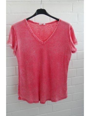 Damen Shirt kurzarm rot red verwaschen V-Ausschnitt Fransen Kanten Baumwolle Onesize 36 - 40