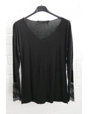 Damen Shirt Langarm mit Spitze schwarz black mit Viskose Onesize 38 40