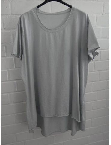 Damen Shirt A-Form kurzarm hellgrau Baumwolle Onesize ca. 38 - 46