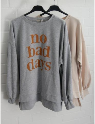 "Sweat Shirt langarm beige weiß ""NO BAD DAYS""..."