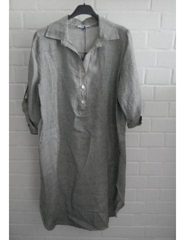 Xuna Damen Tunika Kleid 100% Leinen lindgrün aufgesetzte Taschen Onesize 38 - 42