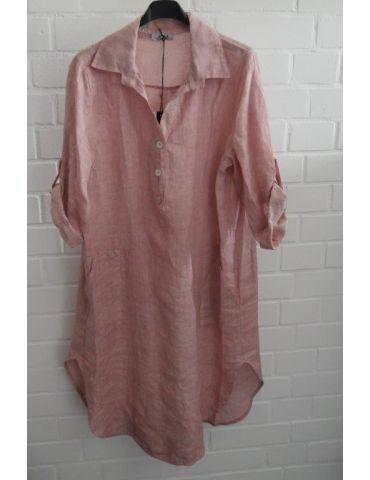 Xuna Damen Tunika Kleid 100% Leinen rose rosa verwaschen aufgesetzte Taschen Onesize 38 - 42