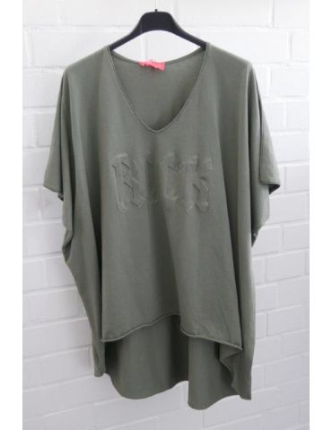 """Damen Shirt kurzarm khaki oliv grün V-Ausschnitt 3D """"ROCK"""" Baumwolle Onesize 38 - 46"""