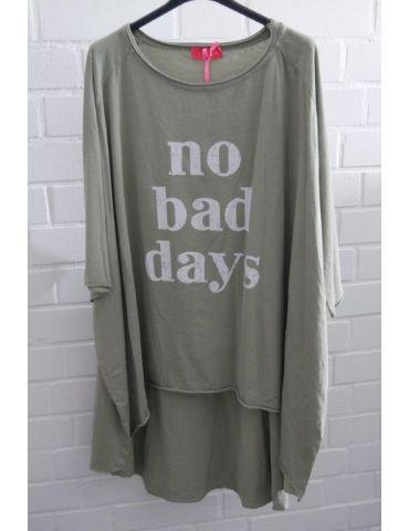 """XXXL Big Size T- Shirt kurzarm hellkhaki oliv grün weiß """"No bad Days"""" Baumwolle Onesize 38 - 50"""