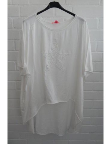 XXXL Big Size T- Shirt kurzarm weiß white 3D Stern Baumwolle Onesize 38 - 50