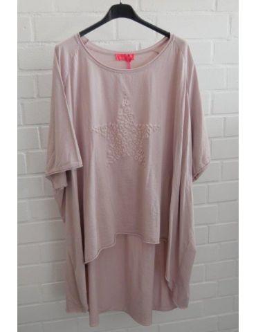XXXL Big Size T- Shirt kurzarm rose rosa 3D Stern Baumwolle Onesize 38 - 50