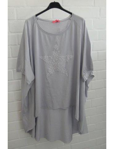 XXXL Big Size T- Shirt kurzarm hellgrau grau 3D Stern Baumwolle Onesize 38 - 50