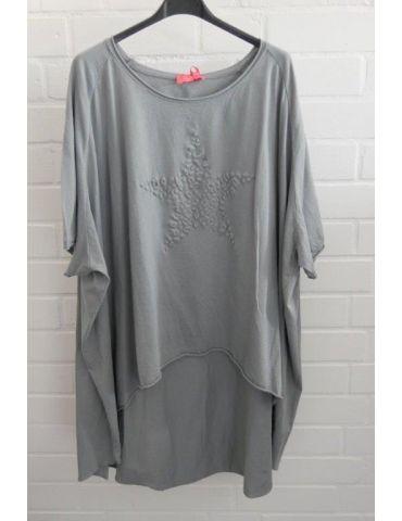 XXXL Big Size T- Shirt kurzarm grau grey 3D Stern Baumwolle Onesize 38 - 50
